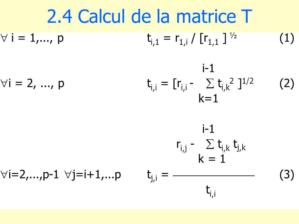 2.4 Calcul de la matrice T i = 1,..., p ti,1 = r1,i / [r1,1 ] ½ (1)